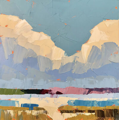 "Paul Norwood, '""Midas Clouds"" Impasto landscape painting of clouds over blue, green and pink land', 2019"