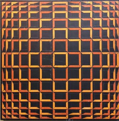 Victor Vasarely, 'Colored Tape on Metal Box Manner of Vasarely Collage Painting', 20th Century