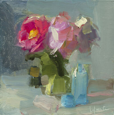Christine Lafuente, 'Pink Peonies and Blue Bottles'