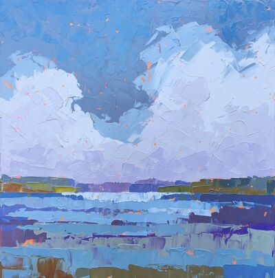 """Paul Norwood, '""""Climbing Clouds"""" Painterly Impasto Stormy Seascape in Blues Purples, Cool Hues', 2010-2017"""