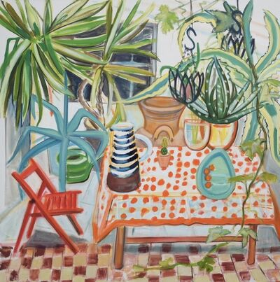 Janet Lance Hughes, 'Huge Conservatory plants with Spotty Tablecloth', 2019