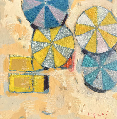 "Tim Jaeger, '""Shades #2"" Bird's Eye View of yellow and blue Umbrellas on Sandy Beach', 2010-2018"