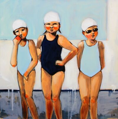 "Debbie Miller, '""Triple Threat"" oil painting of girls in blue and black swimsuits with white caps', 2019"