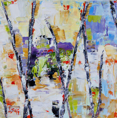 Janice Sugg, 'Abstract Landscape Painting 'Reflected Light with Trees' Contemporary Birch Tree Art', 2017