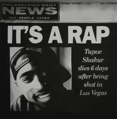 Radenko Milak, 'IT'S A RAP, Tupac Shakur dies 6 days after beeing shot in Las Vegas, The cover of the Philadelphia Daily News, September 14, 1996', 2017