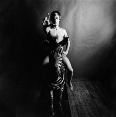 Peter Hujar, 'Paul Thek, Nude, Astride Zebra', 1965