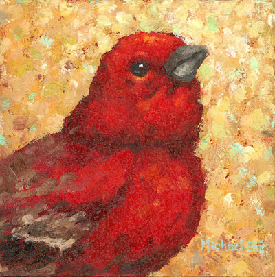 "Michael-Che Swisher, '""Do The Right thing"" Oil portrait of a red bird with neutral yellow background', 2019"
