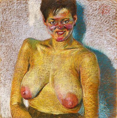 Johannes Grützke, 'Weibliche Brüste von vorn', 1985