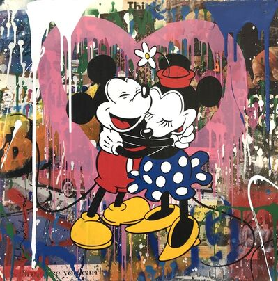 Mr. Brainwash, 'Mickey & Minnie Hug (Pink Heart)', 2017