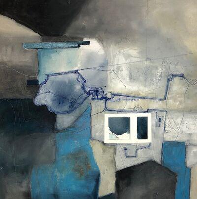 Cecilia Villanueva, 'Everyday Journeys in Houston, ballpoint pen, blue, grey, white, aerial view, city, environmentalist, climate change, impossible architecture', 2019