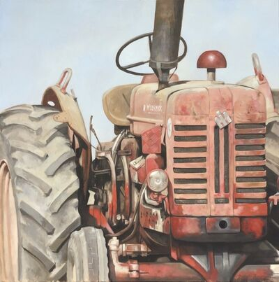 "Michel Brosseau, '""Big Red"" photorealistic oil painting of a dusty red tractor', 2019"