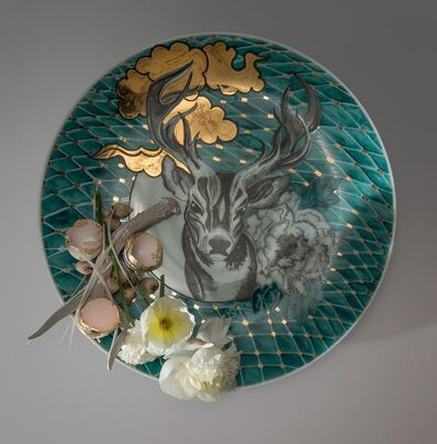 Melanie Sherman, 'Plate with Antler, Flowers, Egg Shells, Onions and Fish', 2015