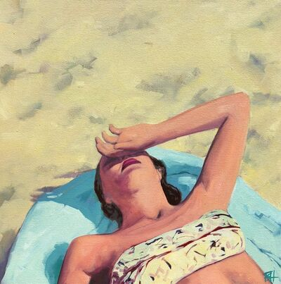 T.S. Harris, '''Beach Swoon'' oil painting of a woman sunbathing on a blue towel', 2019