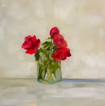 """Jill Matthews, '""""Reds"""" impressionist style oil painting of a bouquet of red roses in a glass vase', 2021"""