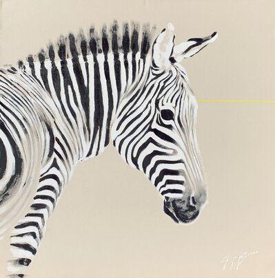 Josh Brown, 'Zebra on Raw Canvas, Neon Line ', 2020