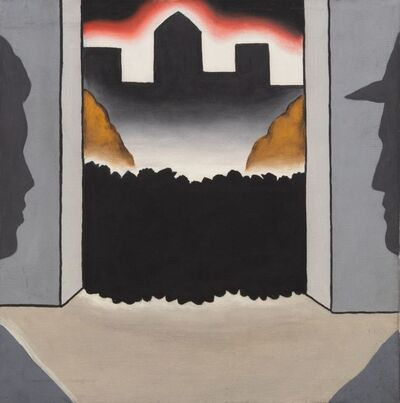 Roger Brown, 'Untitled (Black shrubs, brown rocks, red sky, 2 profiles), c. 1967-68'