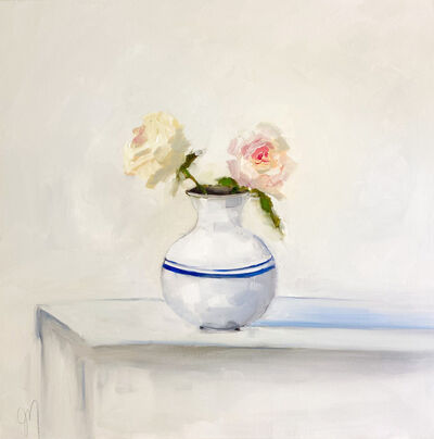 """Jill Matthews, '""""Two Whites"""" impressionist style oil painting of two white roses with pink centers in a round white vase with a blue stripe ', 2021"""