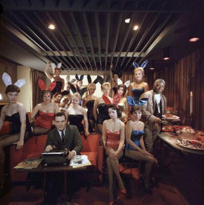 Slim Aarons, 'Man's Work, 1960: Hugh Hefner and Bunnies at the Playboy Key Club, Chicago', 1960
