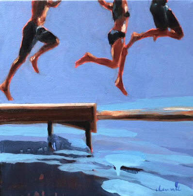 "Elizabeth Lennie, '""Three Amigos"" oil painting of three kids legs jumping off a dock into blue water', 2019"
