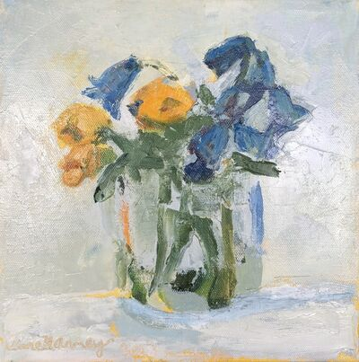 """Anne Harney, '""""Coreopsis and Bluebells"""" impressionist style still life oil painting of yellow and blue flowers in a clear vase', 2020"""