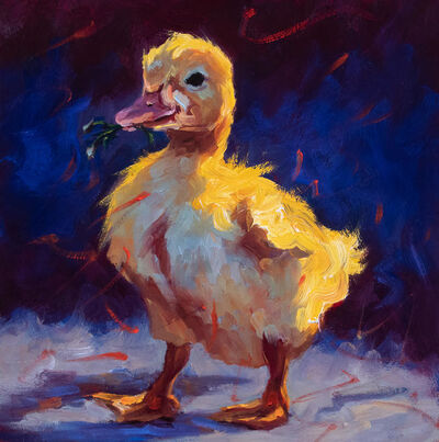 """Cheri Christensen, '""""Spring"""" Oil painting of a yellow chick with grass in its beak and dark background', 2021"""