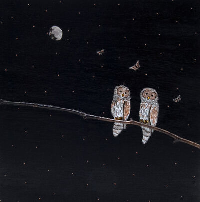 Ashley Anne Clark, 'Owl Couple with Butterfly', 2019