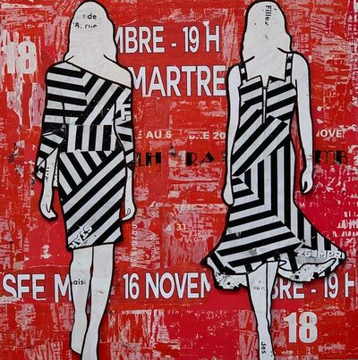Jane Maxwell, 'Black Stripe Dresses',