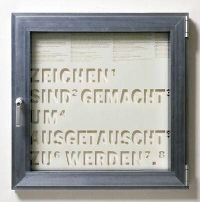 Thomas Locher, 'Fenster #10 Zeichen sind gemacht um ausgetauscht zu werden., ', 1999