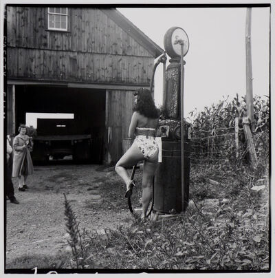Weegee, 'Bettie Page (with gas pump)', ca. 1955/1980s
