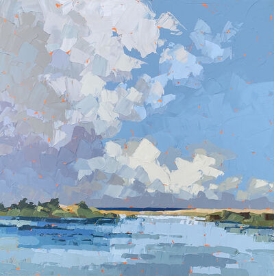 """Paul Norwood, '""""Barrier Beach"""" acrylic painting of a beach front with rolling white clouds', 2010-Present"""