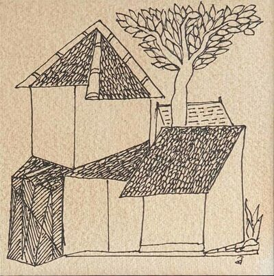 "Badri Narayan, 'House, Ink on Paper by Indian Padmashree Artist Badri Narayan ""In Stock""', 2008"