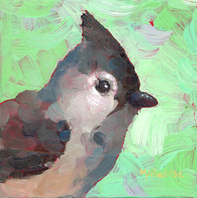 "Michael-Che Swisher, '""Too Soft to Fluff"" Oil portrait of a gray and white bird with green background', 2019"