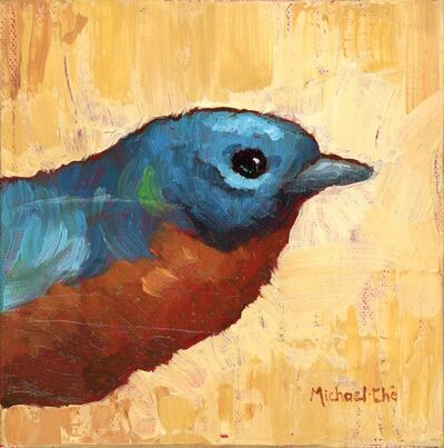 """Michael-Che Swisher, '""""The Brass"""" Painting of a Bird with Ochre Yellow Background', 2010-2018"""