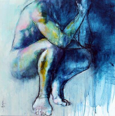 Laurent Bergues, 'Carré fauve homme bleu', 2018