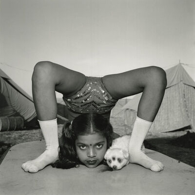 Mary Ellen Mark, 'Contortionist with Her Puppy Sweety, Great Raj Kamal Circus, Upleta, India', 1989