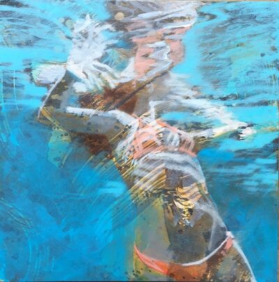 "Carol Bennett, '""Summer Sojourn 1"" Woman in Orange Bikini Swimming with Reflections on Water', 2010-2018"