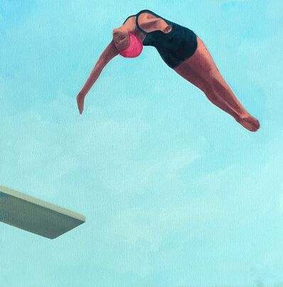"T.S. Harris, '""Into the Sky"" oil painting of female in black suit diving with blue sky behind', 2020"