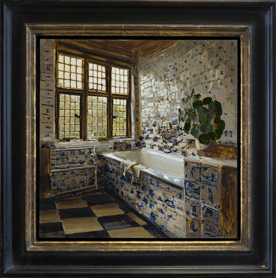 Mary Sauer, 'Bathroom in Delft Tile, Morning', 2019