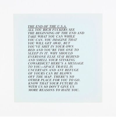 "Jenny Holzer, '""End of the USA"" Inflammatory Essays', 1982"