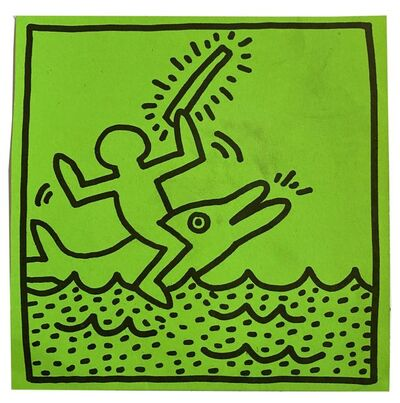 Keith Haring, 'Paper Sticker, Tony Shafrazy Gallery', 1983