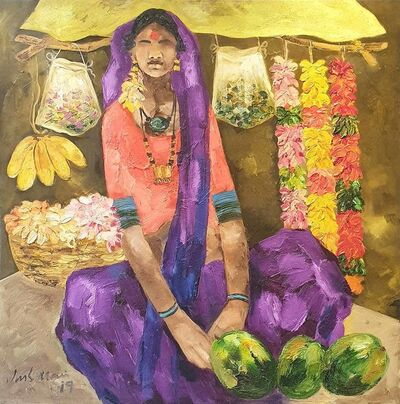 """JMS Mani, 'Badami People, Oil on Canvas by Contemporary Artist """"In Stock""""', 2019"""