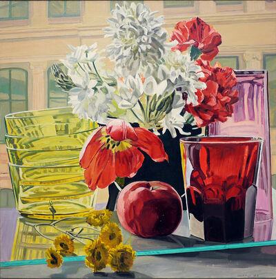 Janet Fish, 'Tulip, Apple and Glass', 1980