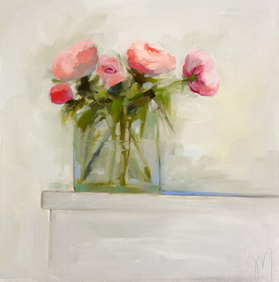 """Jill Matthews, '""""Pink Peonies and Bud"""" impressionist style oil painting of pink peonies and a fuchsia bud in a glass vase', 2021"""