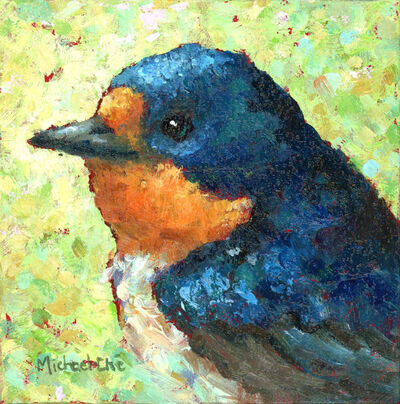 "Michael-Che Swisher, '""Wide and Wonderful"" Oil portrait of a blue and orange bird with green and yellow background', 2019"