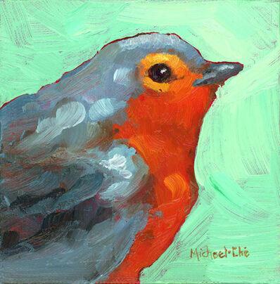"""Michael-Che Swisher, '""""All Cozy"""" Oil portrait of a gray and orange bird in profile', 2019"""