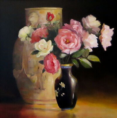 Jacqueline Fowler, 'Chinese Ribbon Vase with Roses'