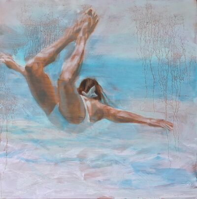 """Carol Bennett, '""""Free Floating"""" oil painting of a woman in a white swimsuit in a pale blue pool', 2017"""