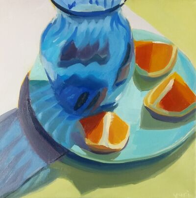 Yuri Tayshete, 'Blue Glass Vase and Orange', 2020