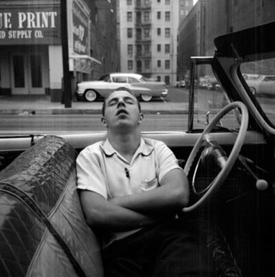 Vivian Maier, 'VM1955W02739 – New York, NY, 1955 Man Sleeping in Car', Printed 2017