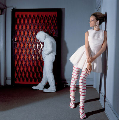 "Horst P. Horst, 'Veruschka in White Tennis Dress with George Segal's ""Walking Man""', 1966"